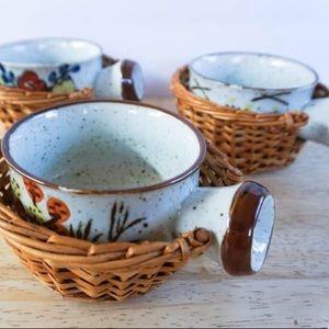 Set of 6 Vintage Takahashi Soup Bowls with Basket